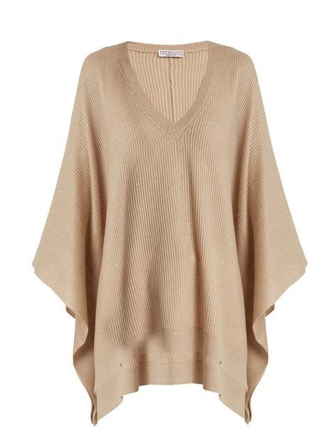BRUNELLO CUCINELLI poncho embellished knit camel top