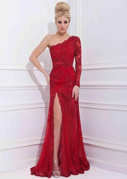 one shoulder prom dress red dress high-low dresses