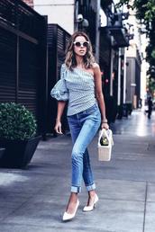 top,tumblr,blue top,one shoulder,denim,jeans,blue jeans,cuffed jeans,pumps,pointed toe pumps,mid heel pumps,bag,prada,prada bag,shoes