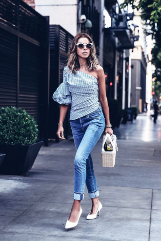 top tumblr blue top one shoulder denim jeans blue jeans cuffed jeans pumps pointed toe pumps mid heel pumps bag prada prada bag shoes