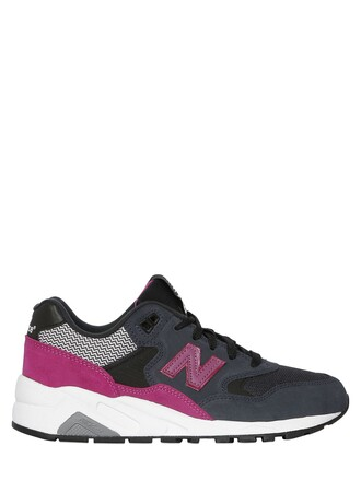 mesh sneakers suede navy pink shoes