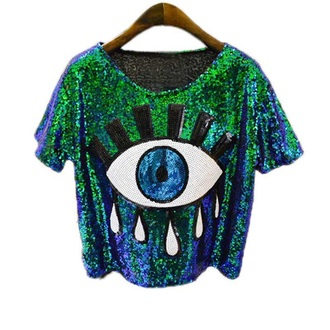 top green short sleeve tshirt sequins sequin top eyes embroidered blue green