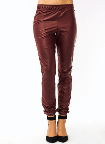 GJ | Vinyl Track Pants $26.00 in BRONZE BURGUNDY NAVY RED WHITE - Jogger Pants | GoJane.com