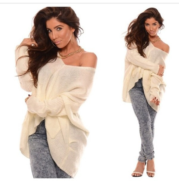 Sweater: nude sweater, nude, oversized sweater, off the shoulder ...