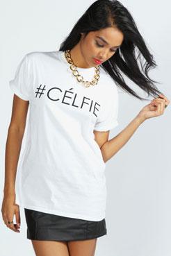 Lola #Celfie Slogan Oversize Tee at boohoo.com