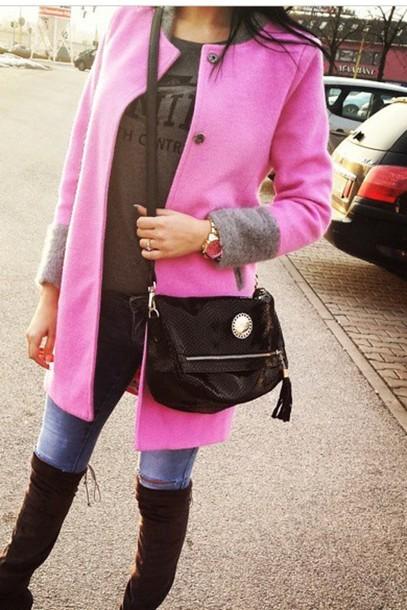 coat pink grey style