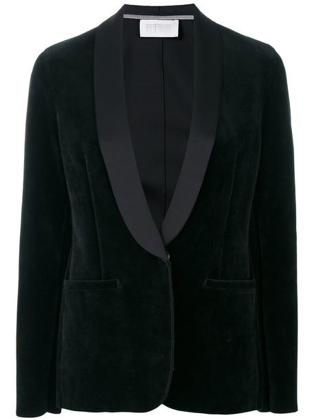 HARRIS WHARF LONDON blazer women spandex cotton black velvet jacket
