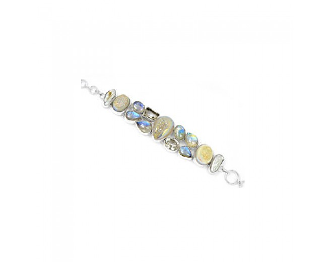 Awesome 925 sterling silver Rainbow Moonstone Crystal And Biwa Pearl Gemstone Cluster Bracelet