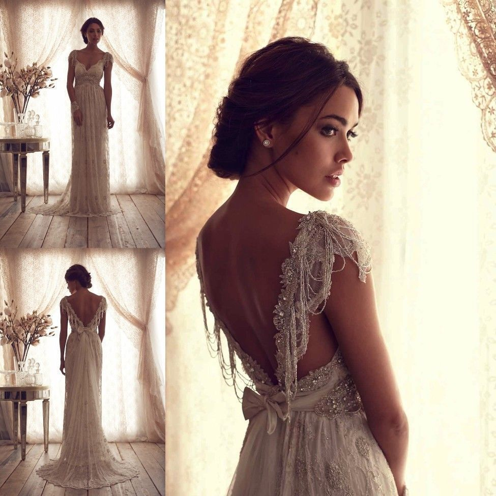Anna campbell bridal gown ivory lace sexy v backless for Ivory lace wedding dresses
