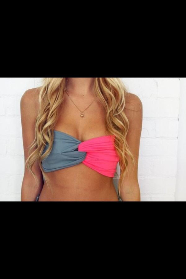 swimwear bikini bandeau bikini pink grey swimwear