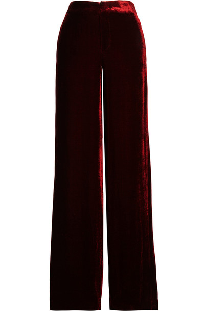 Etro Velvet Wide-Leg Pants in burgundy - Wheretoget
