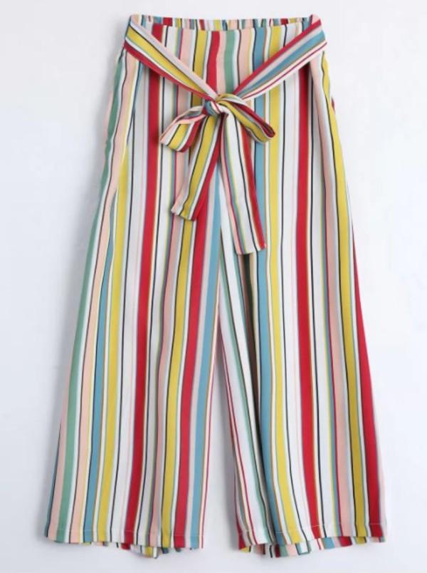 pants girly stripes wide-leg pants