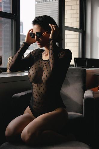 polka dots seethrough underwear body