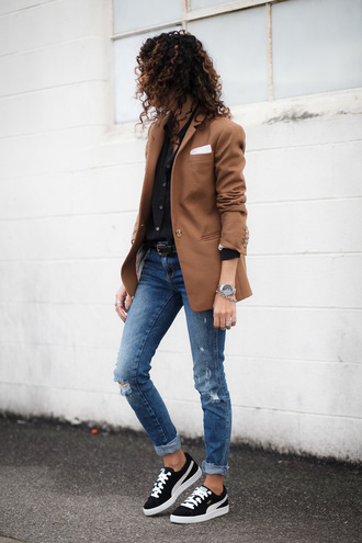 alterations needed blogger jacket blouse jeans shoes jewels belt blazer sneakers vans