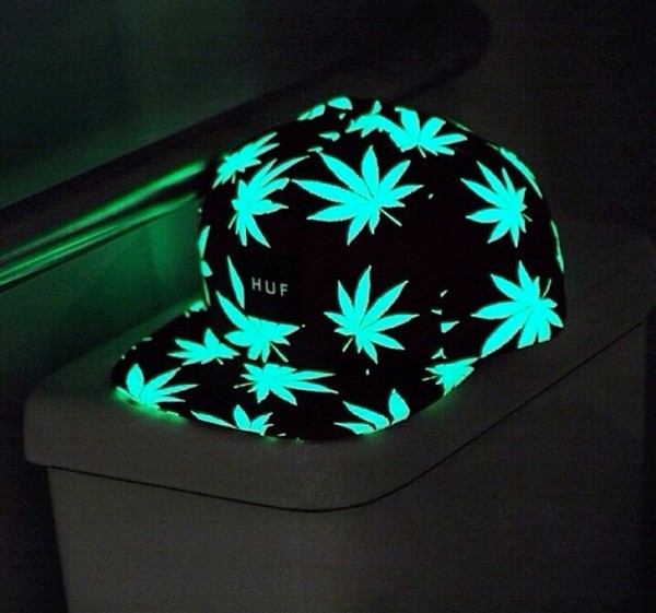 hat weed weed green stoner stoners glow in the dark cap