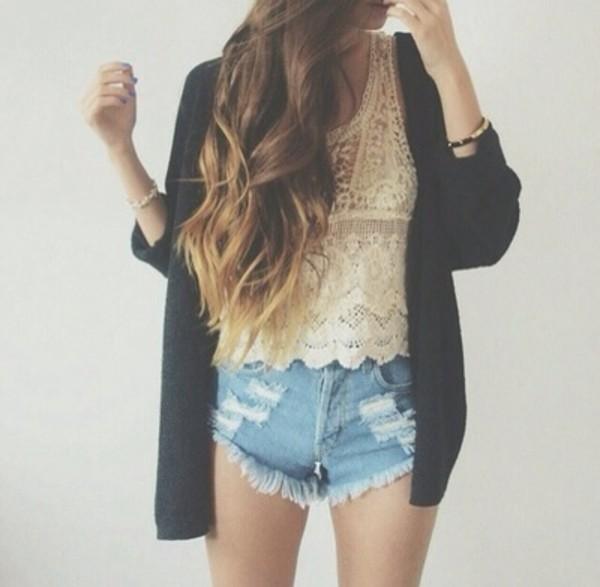 shorts denim blouse short ripped belt sweater