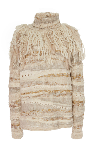 Lucca Fringed Crochet-Knit Turtleneck Sweater by Prabal Gurung | Moda Operandi