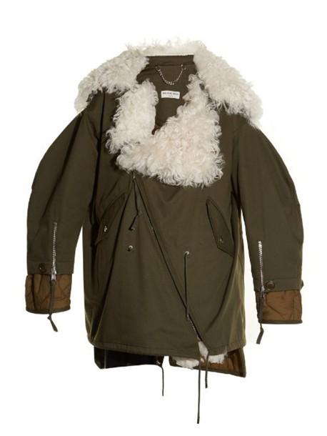 BALENCIAGA Shearling-collar cotton-drill parka in khaki