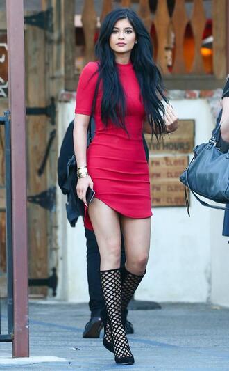 dress kylie jenner dress kardashians red jewels shoes