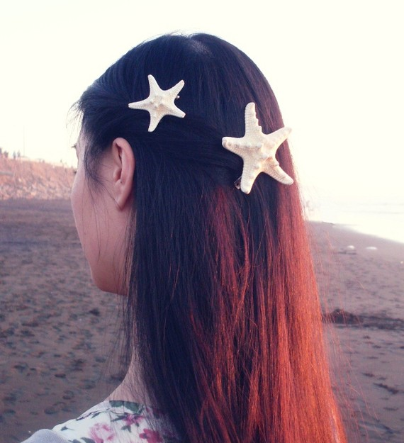Natural white knobby starfish barrettes clips  by dreamsbythesea