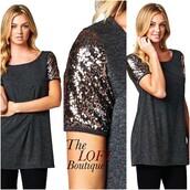 top,sequin shirt,sequins,shirt,charcoal,grey t-shirt