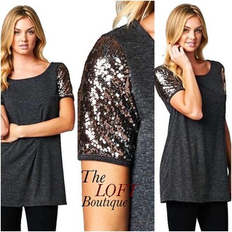 top sequin shirt sequins shirt charcoal grey t-shirt