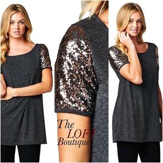 top sequin shirt sequins shirt charcoal grey t-shirt