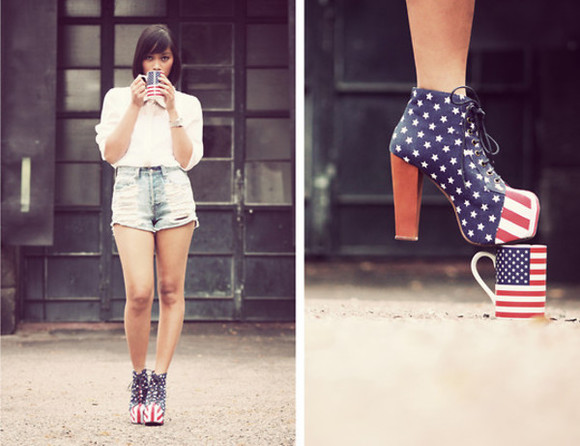 shoes jeffrey campbell high heels jeffrey campbell lita american flag red white blue prom dresses