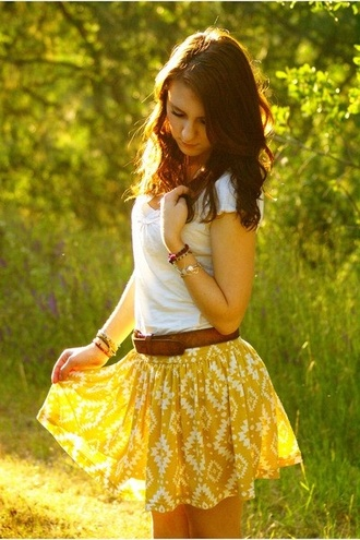 skirt western print country blouse