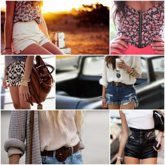 cutoff denim shirt l cute shorts top crop tops floral swag i want this ineed tribal pattern cutoff shorts leather shorts blouse white summer outfits