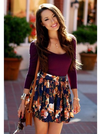 skirt floral skirt floral blouse purple long sleeves