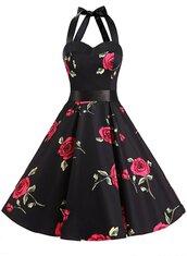 dress,vintage dress,rockabilly dresses,retro dresses,50s dresses,vintage style dresses,floral dress,halter dress