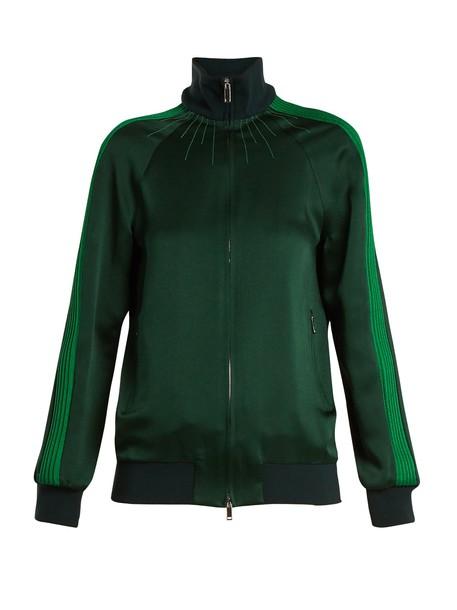 top zip high satin green