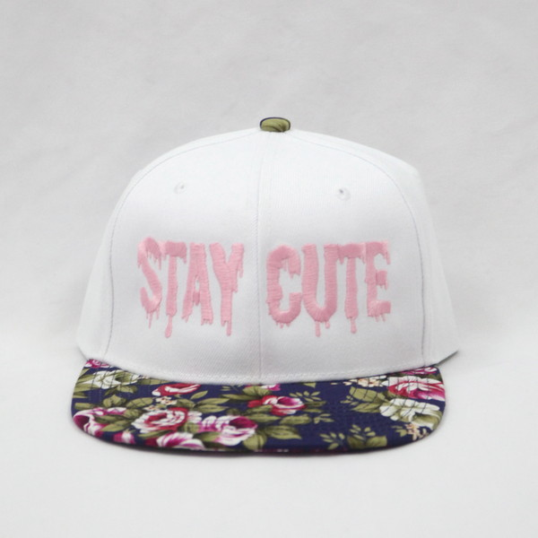 Stay Cute White Floral Snapback - Polyvore