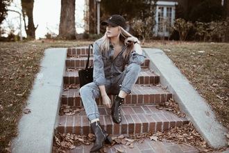 cara loren blogger jumpsuit shoes hat bag celebrity ankle boots cap denim jumpsuit