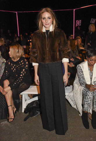 coat fur coat fur olivia palermo wide-leg pants fashion week 2015