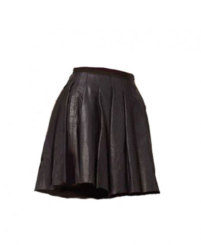 Skater Skirt with Pleated Leather Details