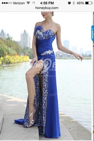 dress royal bue leopard print rhinestone dress slit prom dress