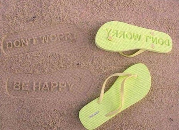 shoes beach flip-flops dont worry be happy green