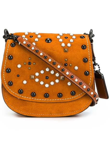 coach women embellished bag leather nude suede