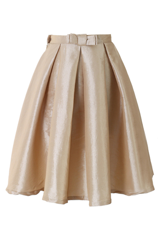 skirt bow pleated a-line champagne