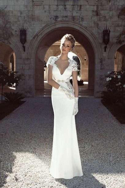 Dress mermaid prom dress white dress formal lace cut for Beautiful fitted wedding dresses