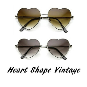 41ae2e71f57 Heart Shape Sunglasses Metal Frame Cute Lovely Womens Eyewear ...