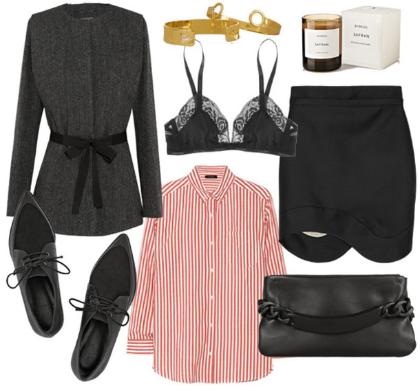 camille over the rainbow blogger black skirt charcoal winter outfits asymmetrical striped shirt pointed toe candle bra jacket jewels shirt skirt bag underwear