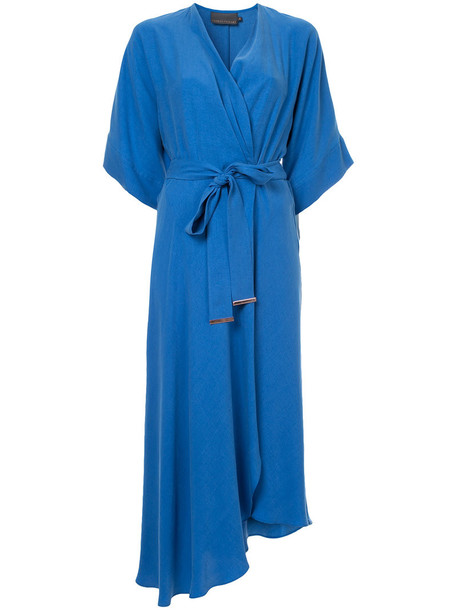 dress wrap dress women blue