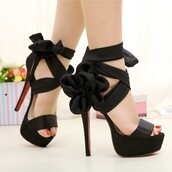 shoes,black,strappy,sandals,high heels,flowers,open toes
