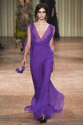 dress,alberta ferretti,purple,purple dress,sara sampaio,gown,prom dress,see through dress,plunge dress,runway,model,milan fashion week 2017,fashion week 2017