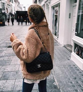 coat fuzzy coat teddy bear coat cute soft grunge cozy beige nude fur fur coat tumblr