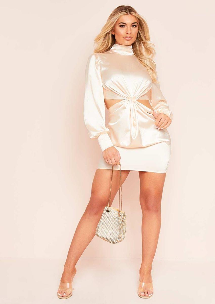 Ariella Champagne Satin Cut Out Mini Dress