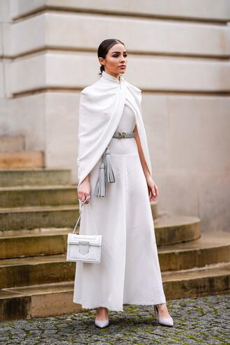 dress all white everything olivia culpo maxi dress pumps belt fashion week paris fashion week 2018 purse